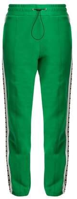 MSGM Logo Print Cotton Track Pants - Womens - Green