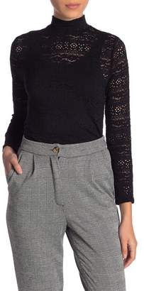 Melrose and Market Lace Mock Neck Long Sleeve Tee (Regular & Petite)