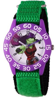Marvel Guardians of the Galaxy Evergreen Gamora Girls' Purple Plastic Time Teacher Watch, Green Hook and Loop Nylon Strap with Black Backing
