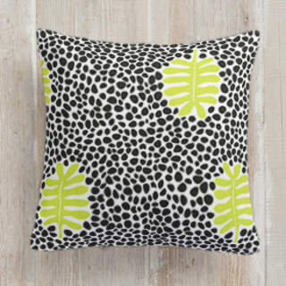 Cinnabar Leaves and Polka Dots Square Pillow