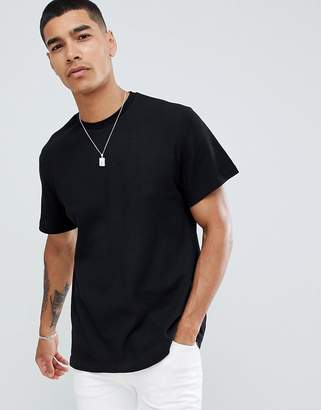Pull&Bear t-shirt in black with waffle texture