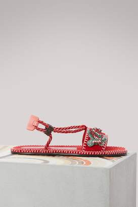Carven Leather cord sandals