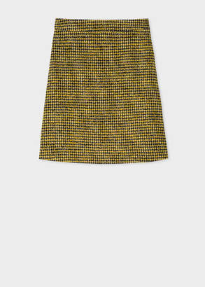 Paul Smith Women's Black And Yellow Dogtooth Pattern Skirt