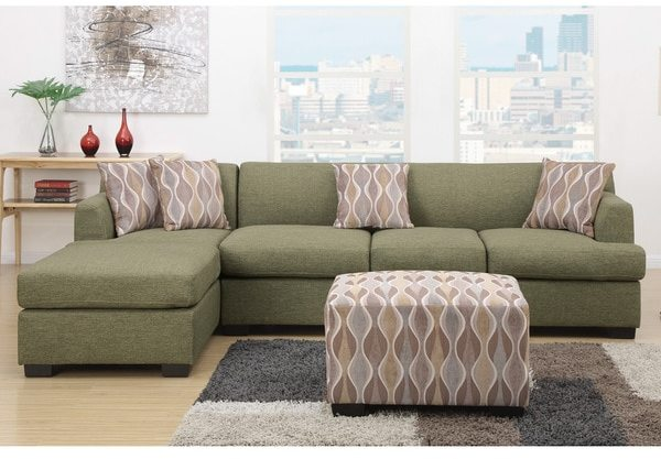 Farsund Large 2-piece Blended Linen Sectional Sofa with Matching Ottoman