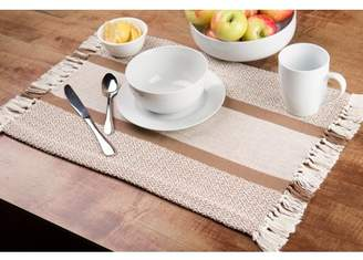 Sticky Toffee Cotton Woven Placemat Set with Fringe, Traditional Diamond, 4 Pack, Tan, 14 in x 19 in
