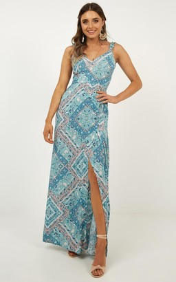 Showpo I Want All Dress in blue print - 6 (XS) Sale Dresses
