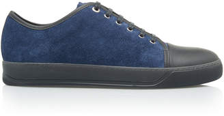 Lanvin Cap-Toe Suede Low-Top Sneakers