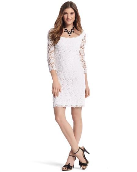 White House Black Market White Lace Shift Dress