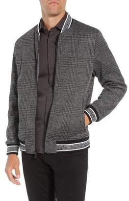 Vince Camuto Slim Fit Plaid Knit Bomber Jacket