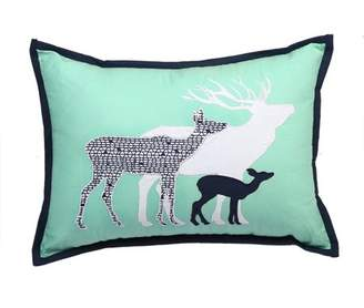 Bacati Tribal Deer Family Dec Pillow 12 x 16 inches with removable 100% Cotton cover and polyfilled pillow insert, Mint/Navy