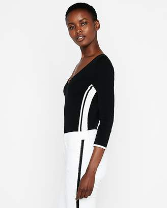 Express Side Stripe V-Neck Pullover Sweater