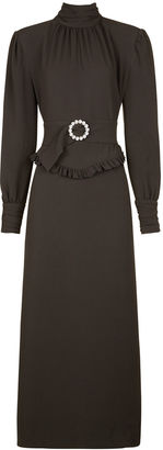 Alessandra Rich Grey High Neck Belted Dress