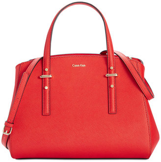 Calvin Klein Saffiano Triple Compartment Satchel $238 thestylecure.com