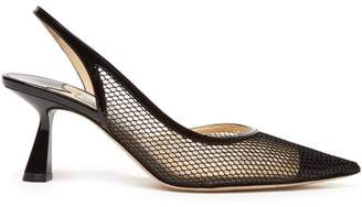 Jimmy Choo Fetto 65 Mesh & Leather Slingback Pumps - Womens - Black