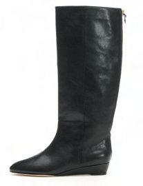 Loeffler Randall Penelope Black Flat Boot with Zip Back