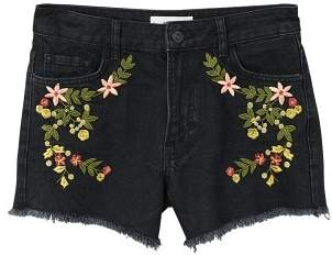 MANGO Embroidered denim short
