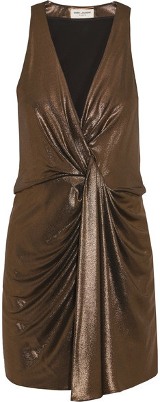 Saint Laurent Saint Laurent - Draped Lamé Mini Dress - Gold