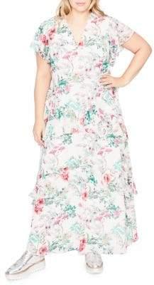 Rachel Roy Floral Print Ruffle Maxi Dress