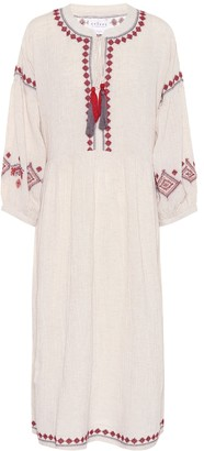 Velvet Etta embroidered cotton-blend dress