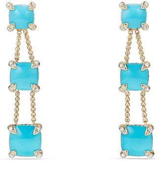 David Yurman Chatelaine Linear Chain Earrings in 18K Gold with Semiprecious Stone and Diamonds