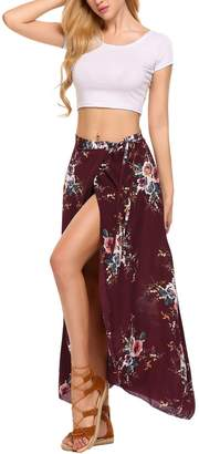 Pagacat Women's Bohemian Long High Waisted Skirt Side Slit Wrap Skirts