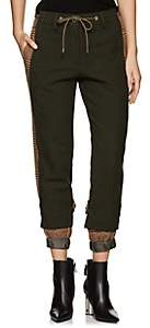Sacai Women's Check-Paneled Wool Trousers - Beige, Khaki