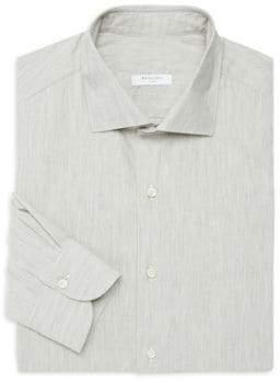 Boglioli Regular-Fit Brushed Herringbone Dress Shirt