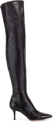 Gianvito Rossi Over the Knee Toe Cap Boots in Black | FWRD