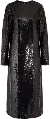 McQ Alexander McQueen - Sequined Tulle Midi Dress - Black $655 thestylecure.com