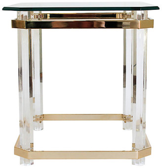 One Kings Lane Vintage Lucite & Brass Side Table - I Dream in Vintage