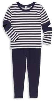 Splendid Little Girl's Striped Cut-Out Tunic& Leggings Two-Piece Set
