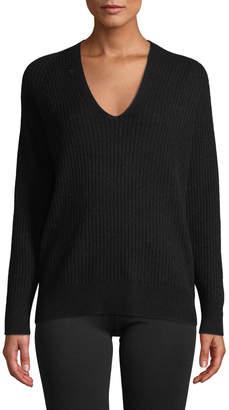 Vince Raglan Ribbed Deep V-Neck Wool-Cashmere Sweater