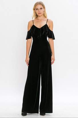 Flying Tomato Velvet Cold-Shoulder Jumpsuit