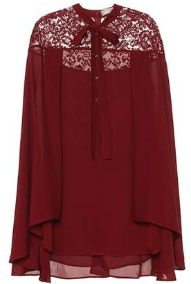 Elie Saab Silk-blend blouse with lace