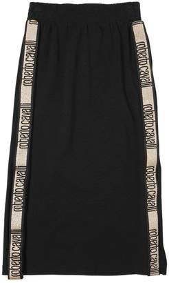 Roberto Cavalli Long Cotton Jersey Skirt W/ Logo Bands