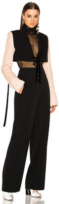 Ann Demeulemeester Lace Sleeve Cropped Jacket