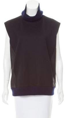 Reed Krakoff Leather-Trimmed Sleeveless Sweater