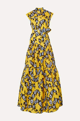 Carolina Herrera Belted Tiered Floral-print Silk-organza Gown - Yellow