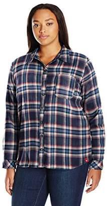 Dickies Women's Plus-Size Long-Sleeve Plaid Flannel Shirt