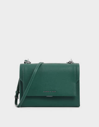 Charles & Keith Chain Link Embossed Crossbody Bag