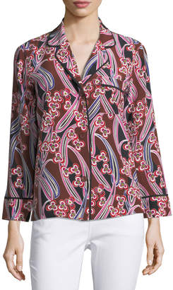 Trina Turk Ira Button-Front Silk Blouse