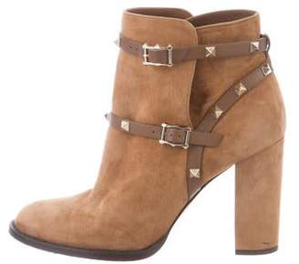 Valentino Suede Rockstud Ankle Boots