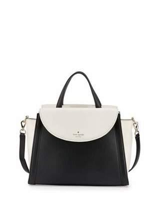 Kate Spade New York Cobble Hill Adrien Satchel Bag, Cement/Black $428 thestylecure.com