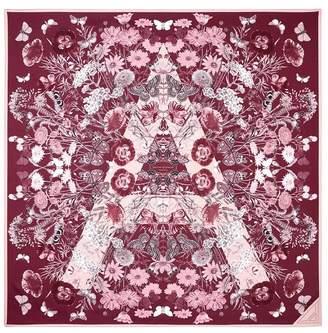 Aspinal of London Botanical A Silk Scarf In Dusky Pink Burgundy