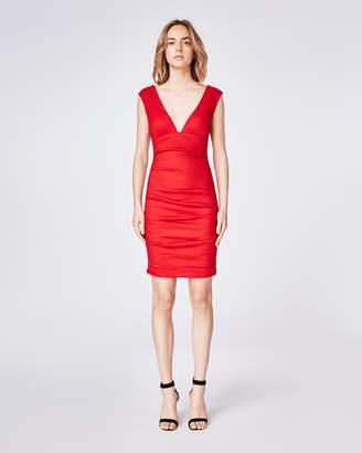 Nicole Miller Solid Cotton Metal Plunge Dress