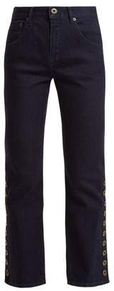 Chloé Mid Rise Kick Flare Cropped Jeans - Womens - Denim