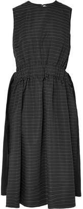 Noir Kei Ninomiya Striped Faille Midi Dress - Black