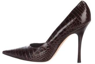 Rene Caovilla Embossed Pointed-Toe Pumps