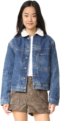 Helmut Lang Short Sherpa Denim Jacket $495 thestylecure.com