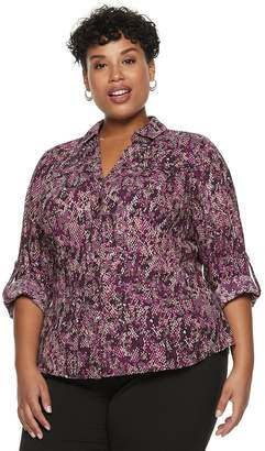 Dana Buchman Plus Size Roll-Tab Button-Down Shirt